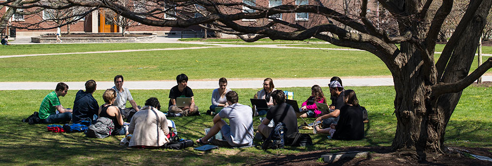 a group of students study under a tree on Eastman Quad